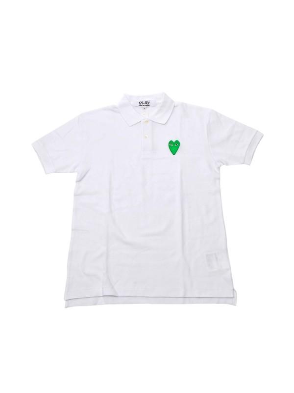 Comme Des Garcons Play Collar T-shirt White c/w Green Heart 久川保玲白色绿心Polo衫 size S M