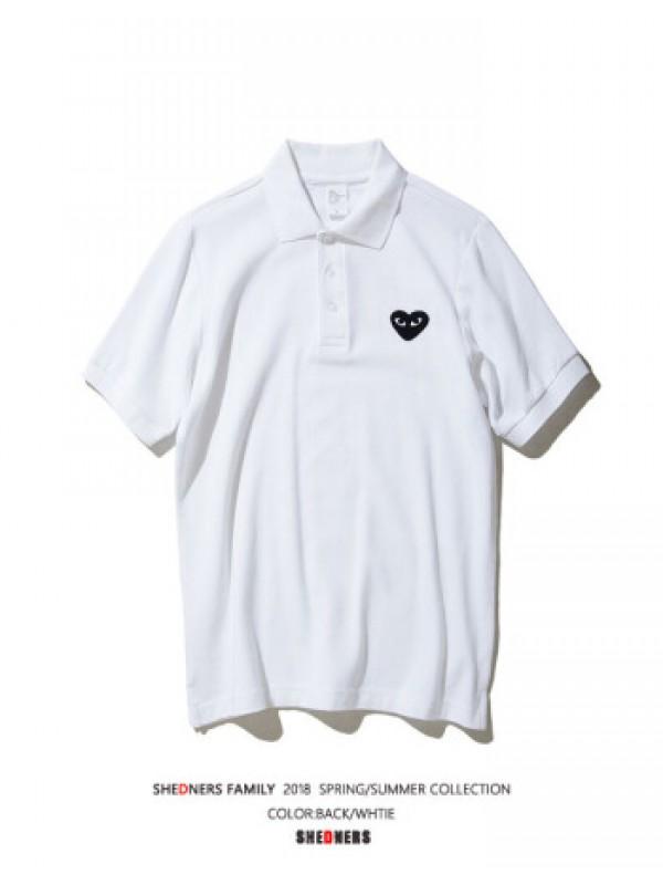 Comme Des Garcons Play Collar T-shirt White c/w Black Heart 久川保玲白色黑心Polo衫 size XL