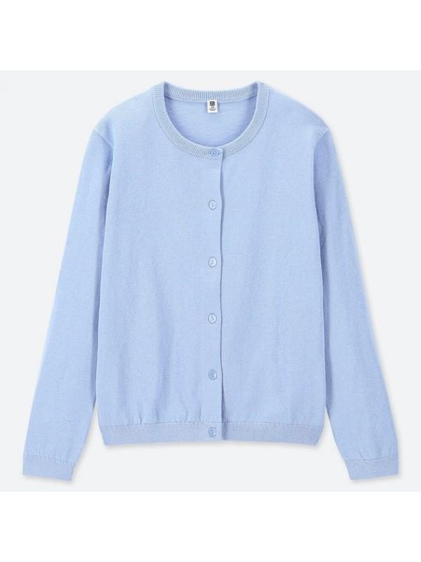 UNIQLO优衣库儿童防晒毛衣开衫浅蓝色 size110 120 130